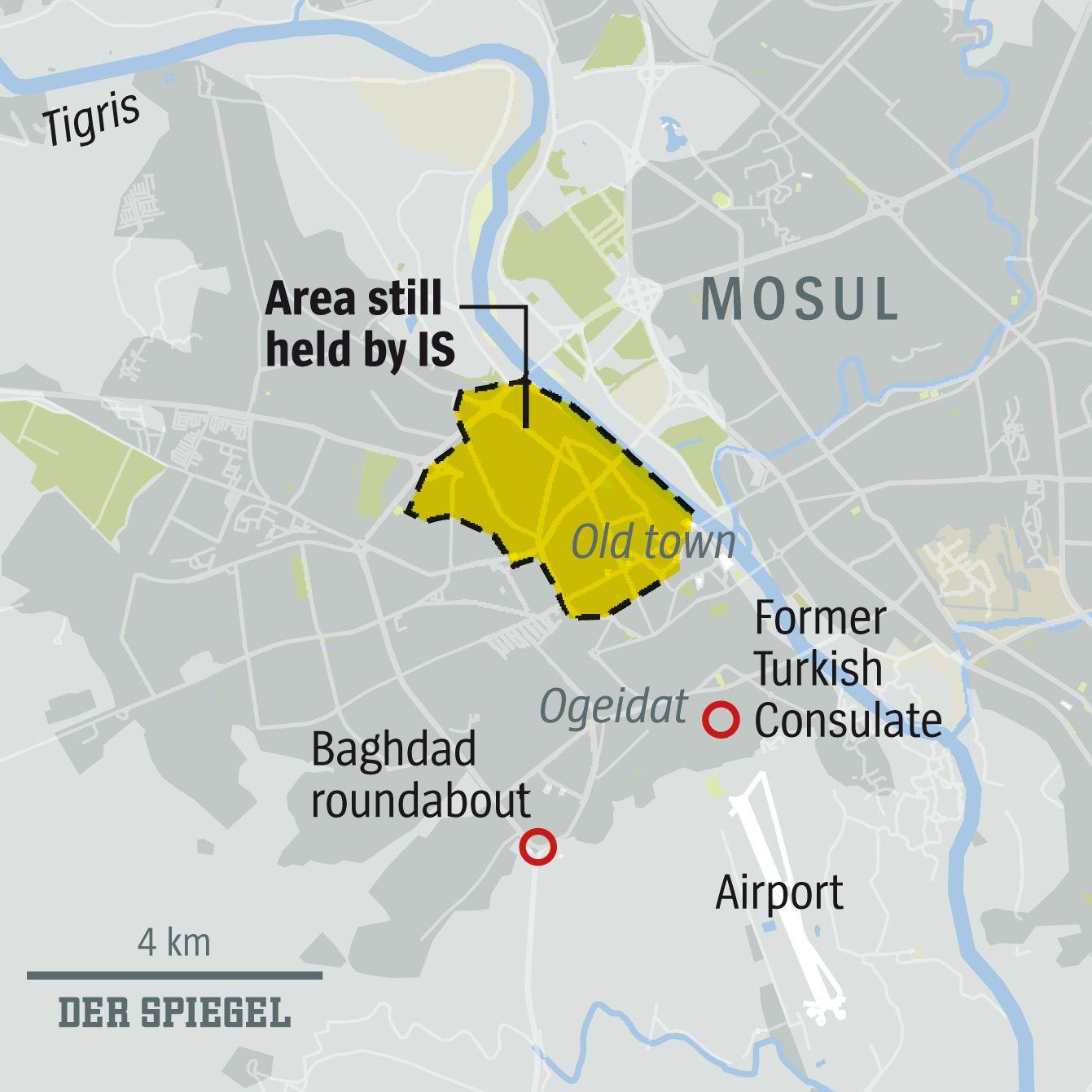Karte DER SPIEGEL Heft 22, Seite 84, Mossul