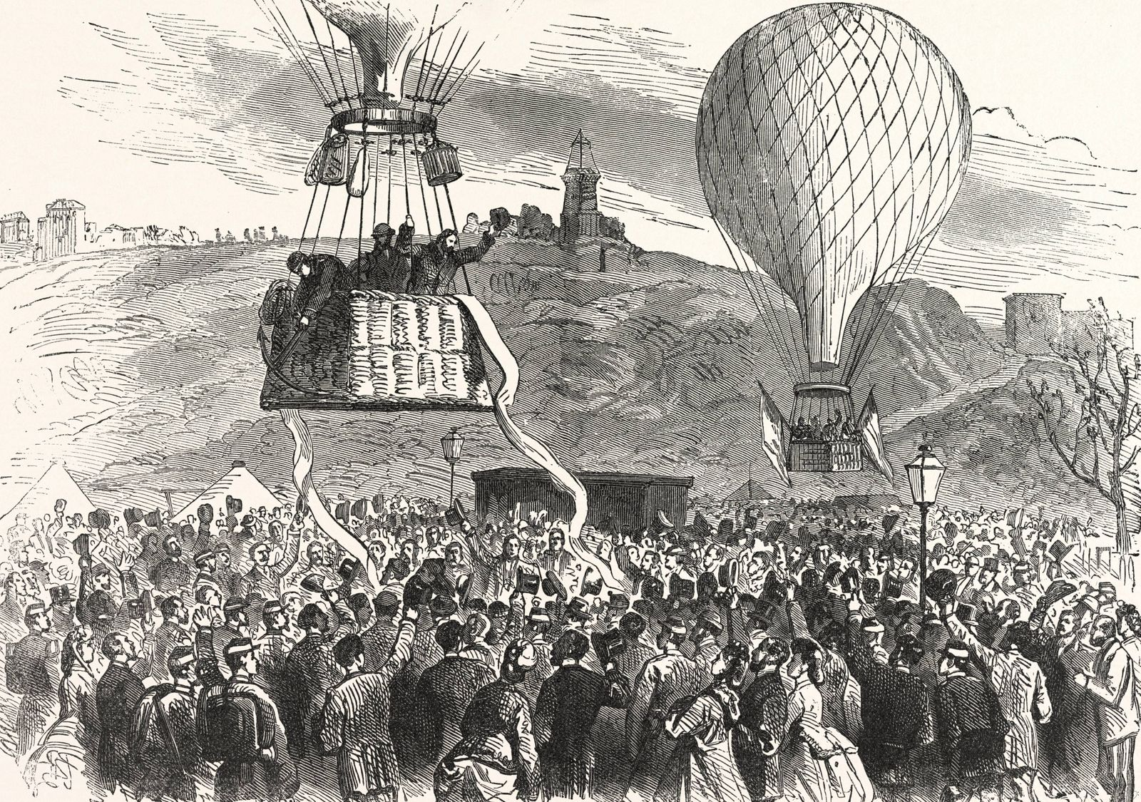 Franco Prussian War Leaving of Gambetta Minister for the Interior to Tours by Means of Balloon Ar