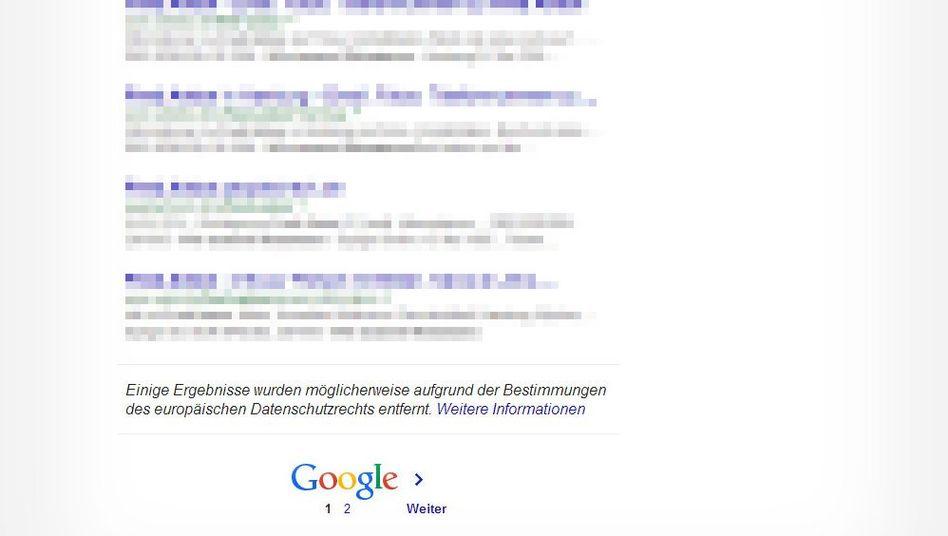 Achtung, hier fehlt etwas: Google weist Nutzer auf gelöschte Sucheinträge hin