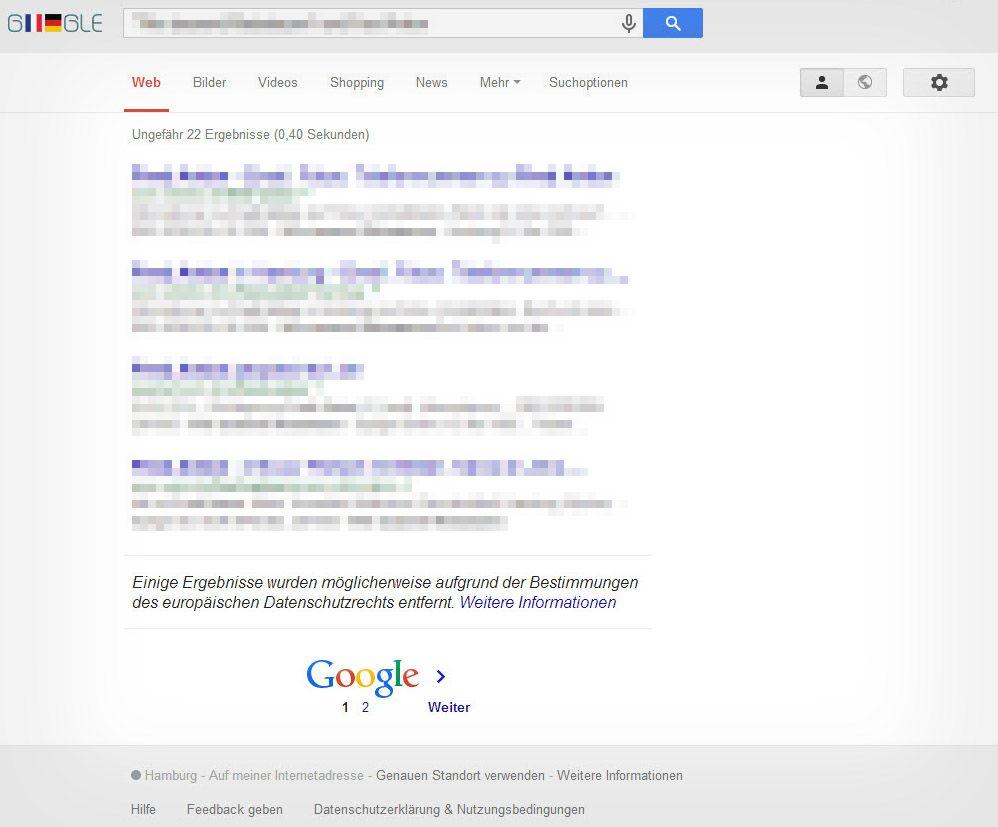NUR ALS ZITAT Screenshot Google/ Vergessen