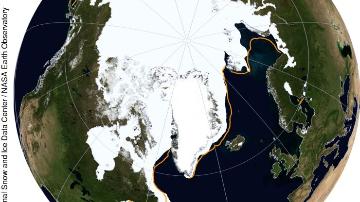 Ausdehnung des arktischen Meereises am 24. März (weiß) im Vergleich zum letzten Negativrekord von vor einem Jahr (gelbe Linie).