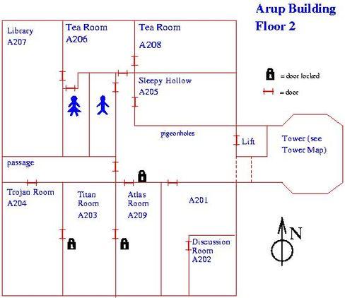 Der Lageplan: In Korridor vor einem Computerraum namens Trojan Room war die Krups ProAroma jahrelang zu Hause. Mehrere Millionen virtuelle Besucher besuchten die heilige Halle.