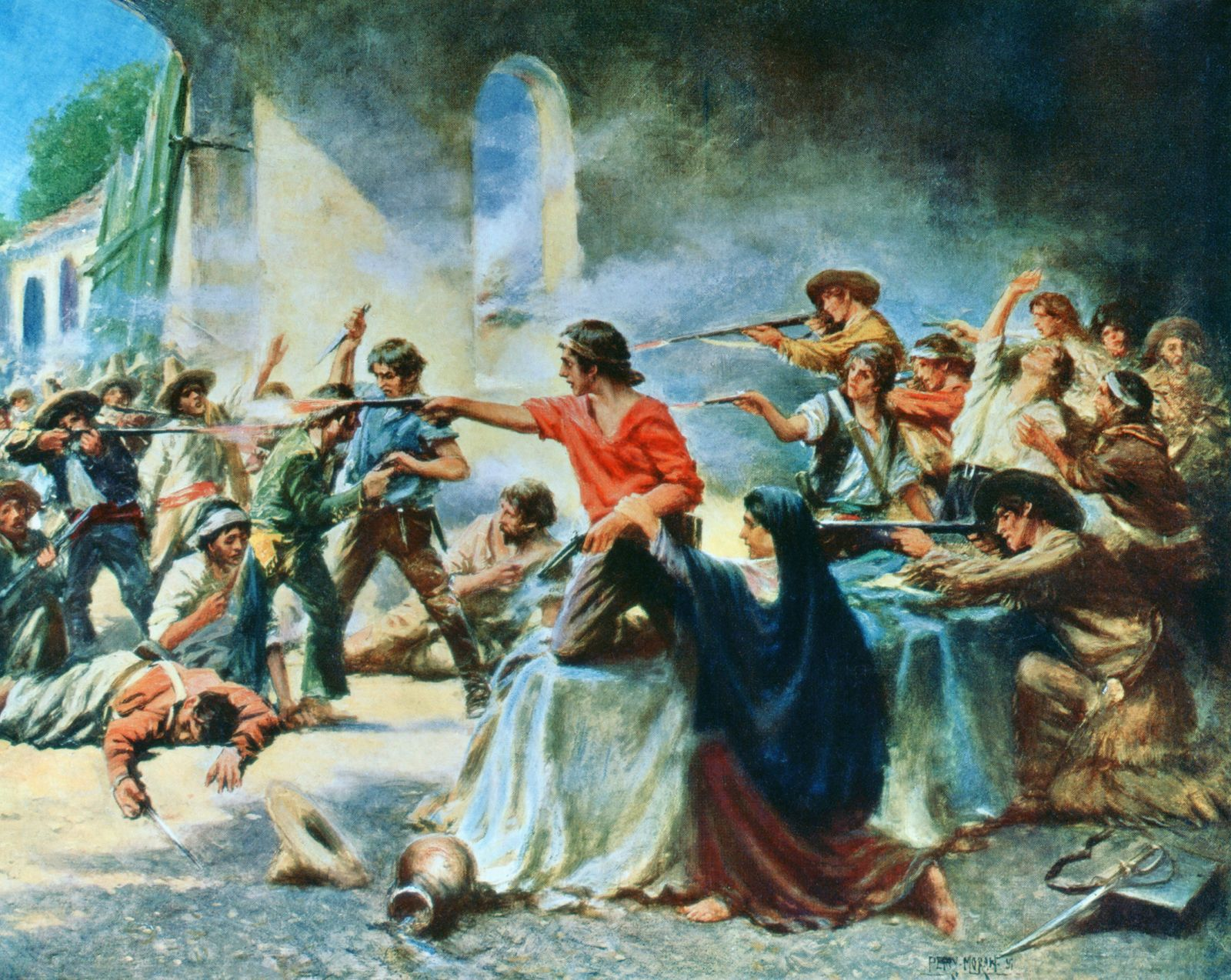 The Battle of the Alamo, during the Texas Revolution. After a work by E. Percy Moran. PUBLICATIONxINxGERxSUIxAUTxONLY Co