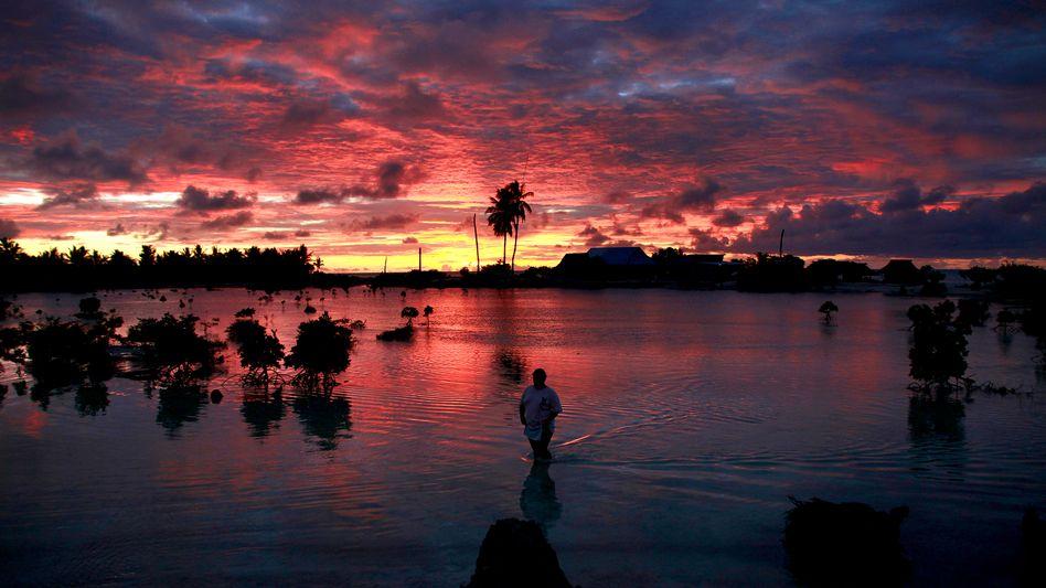 Kiribati: Ein Bewohner des Dorfes Tangintebu watet durch Hochwasser