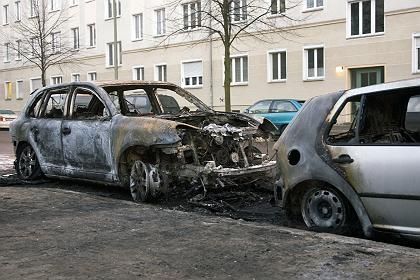 This car was set on fire in late January in central Berlin.