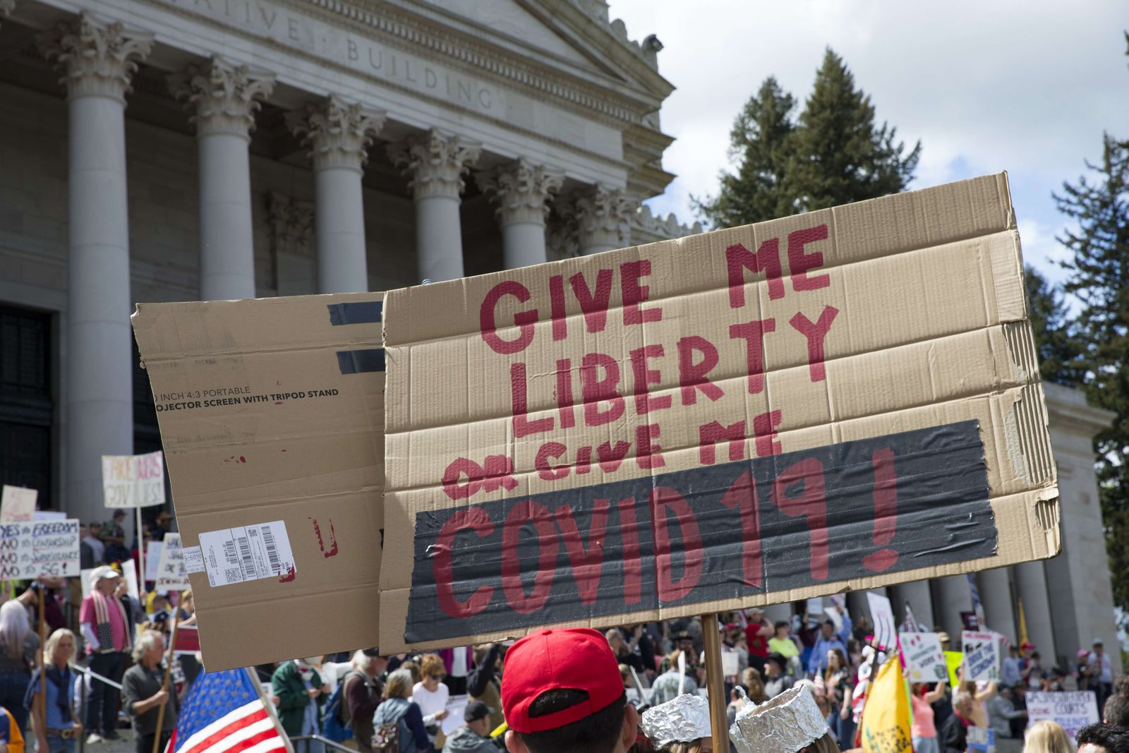 Protestors Rally Against Stay-At-Home Order At Washington State Capitol