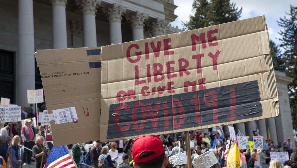 Kundgebung am 19. April in Olympia, Washington