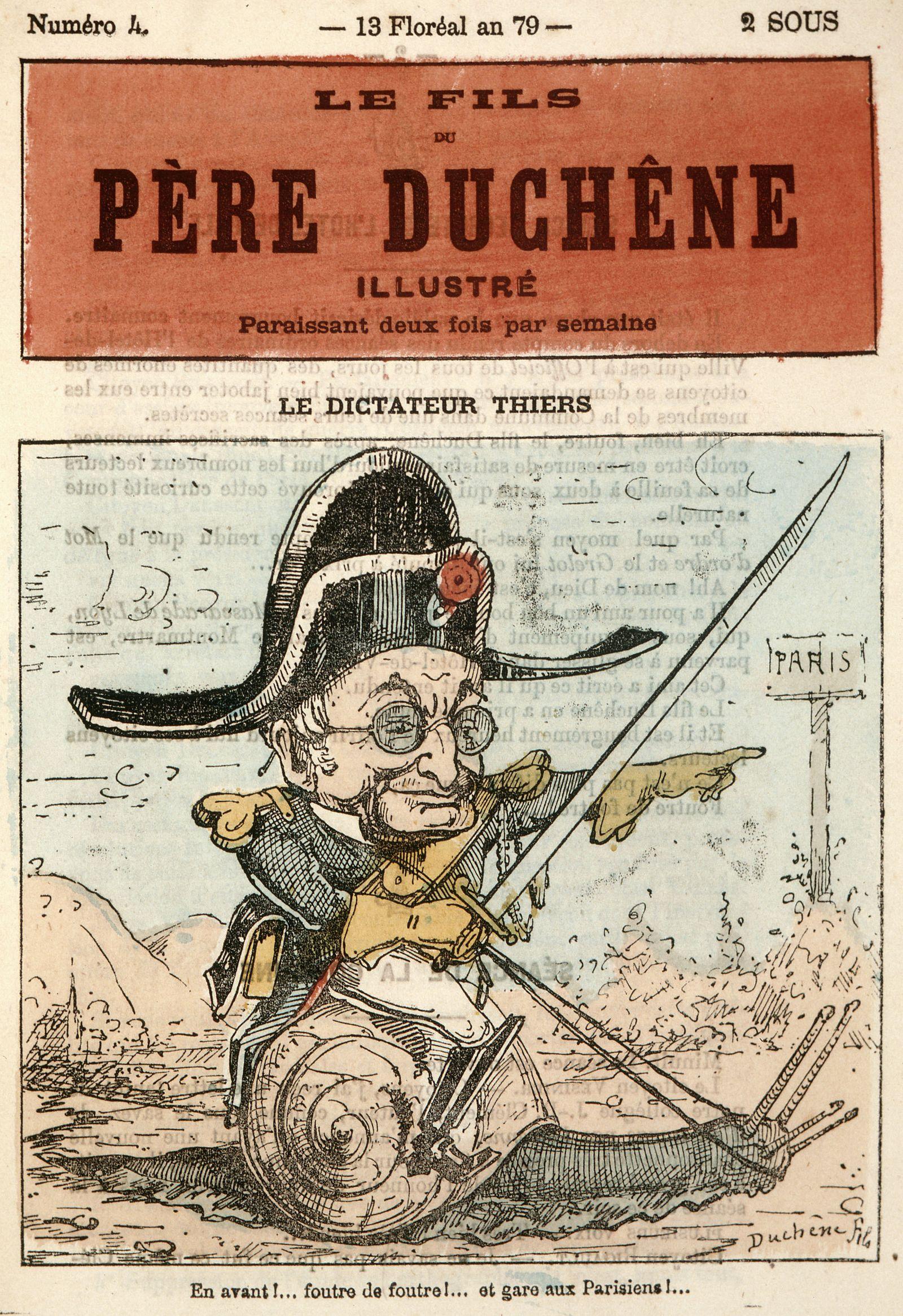 Commune Le dictateur THIERS : En avant ! Foutre de foutre ! Et gare aux parisiens : il charge, monte sur un escargot. Il