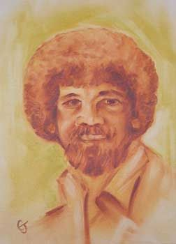 Ikone der Hobbymaler: Bob Ross (in einem Gemälde von Eva Tadewald)