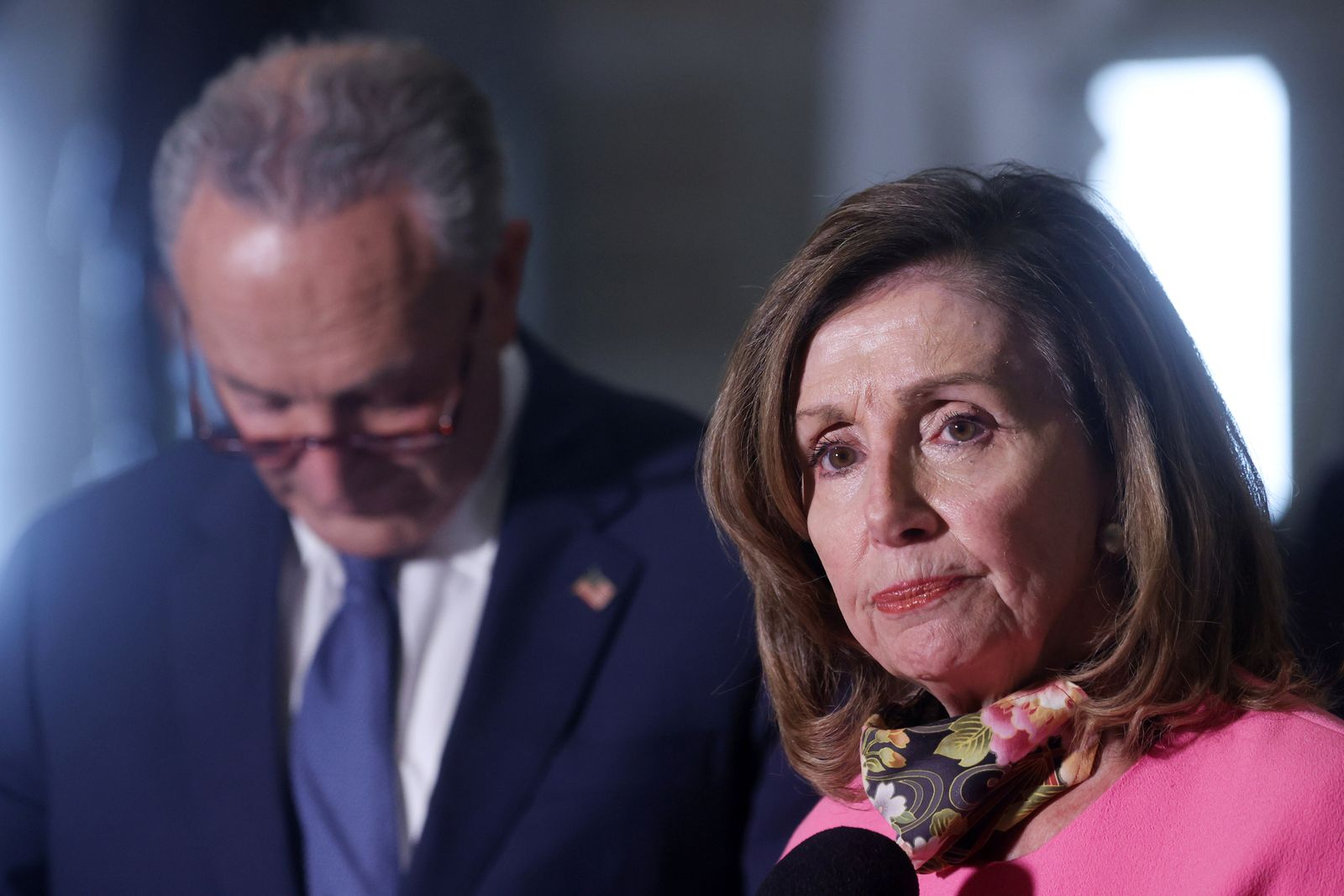 U.S. House Speaker Pelosi and Senate Minority Leader Chuck Schumer (D-NY) speak to reporters after their coronavirus relief negotiations with Mnuchin and Meadows at the U.S. Capitol in Washington