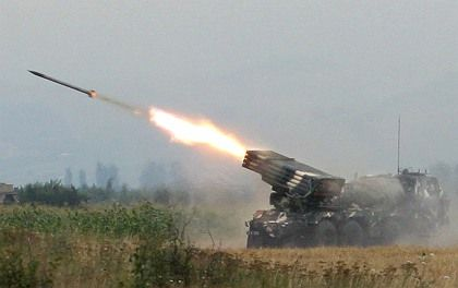Georgian troops fire rockets at South Ossetian separatist troops on Aug. 8.