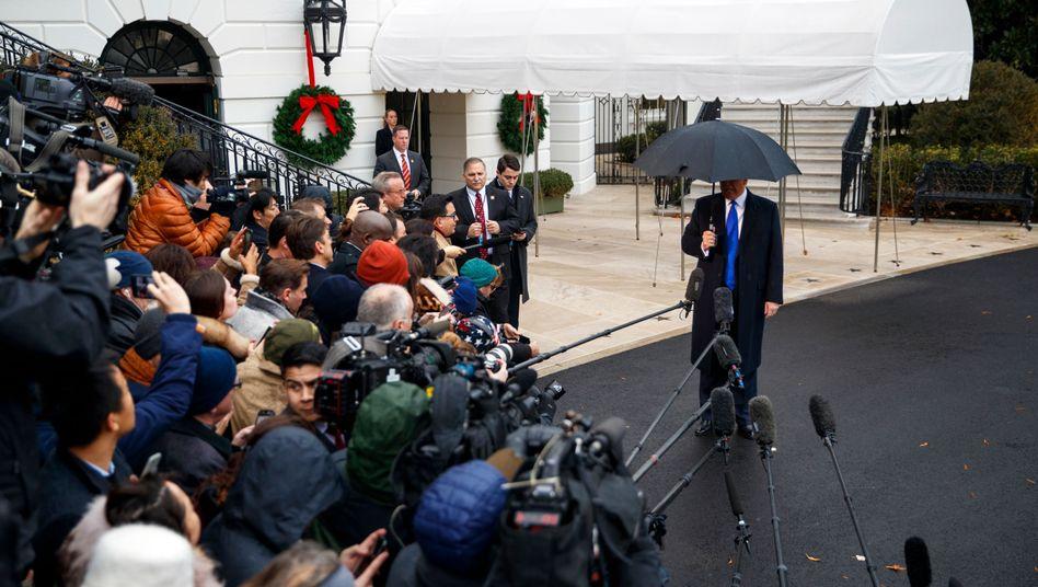 Donald Trump, Präsident der USA , vor seinem Abflug zum Nato-Gipfel