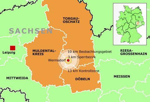 Eindämmung: Mit einem Radius von drei, zehn und noch einmal drei Kilometern ziehen sich Sperrbezirk, Beobachtungsgebiet und Kontrollgebiet um den Hof zwischen Wermsdorf und Mutzschen