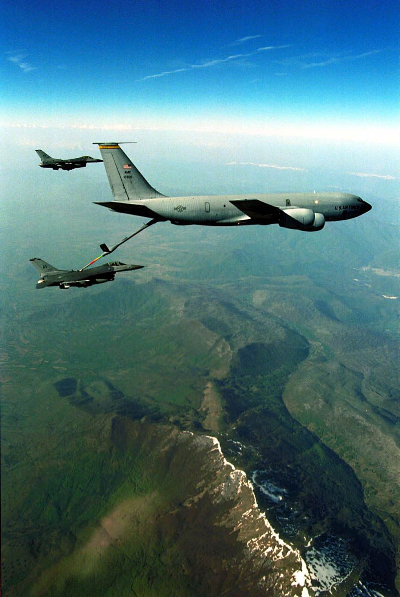 F 16 Falcons From The 510Th Fighter Squadron Aviano Air Base Italy Take Fuel From A Kc 135 Over N
