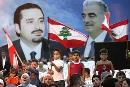 Demonstrators gather after Rafik Hariri's murder in Beirut.