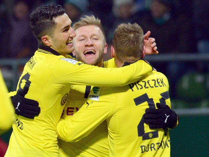 BVB-Profis Sahin, Blaszczykowski, Piszczek (v.l.): Zu Hause gegen Nürnberg