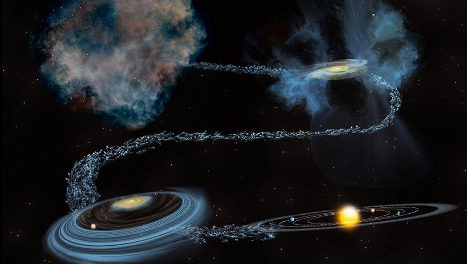 Wasser aus alter Zeit (Illustration): Eis aus molekularen Wolken gelangt in planetenformende Scheiben um junge Sterne
