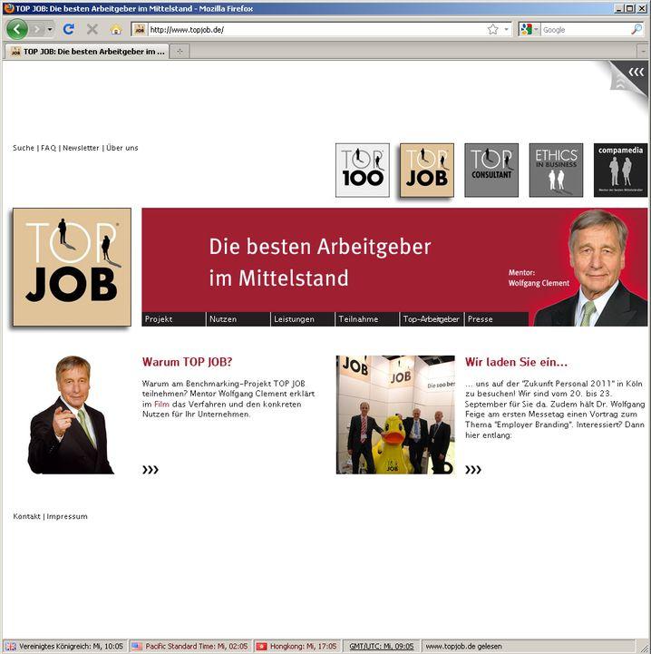 """""""Top Job"""": Zuständig für den Mittelstand, wirbt mit Wolfgang Clement"""