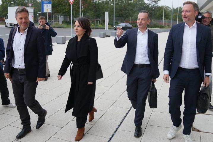 Grün-gelbe Sondierer Habeck, Baerbock, Wissing, Lindner am Montag in Berlin