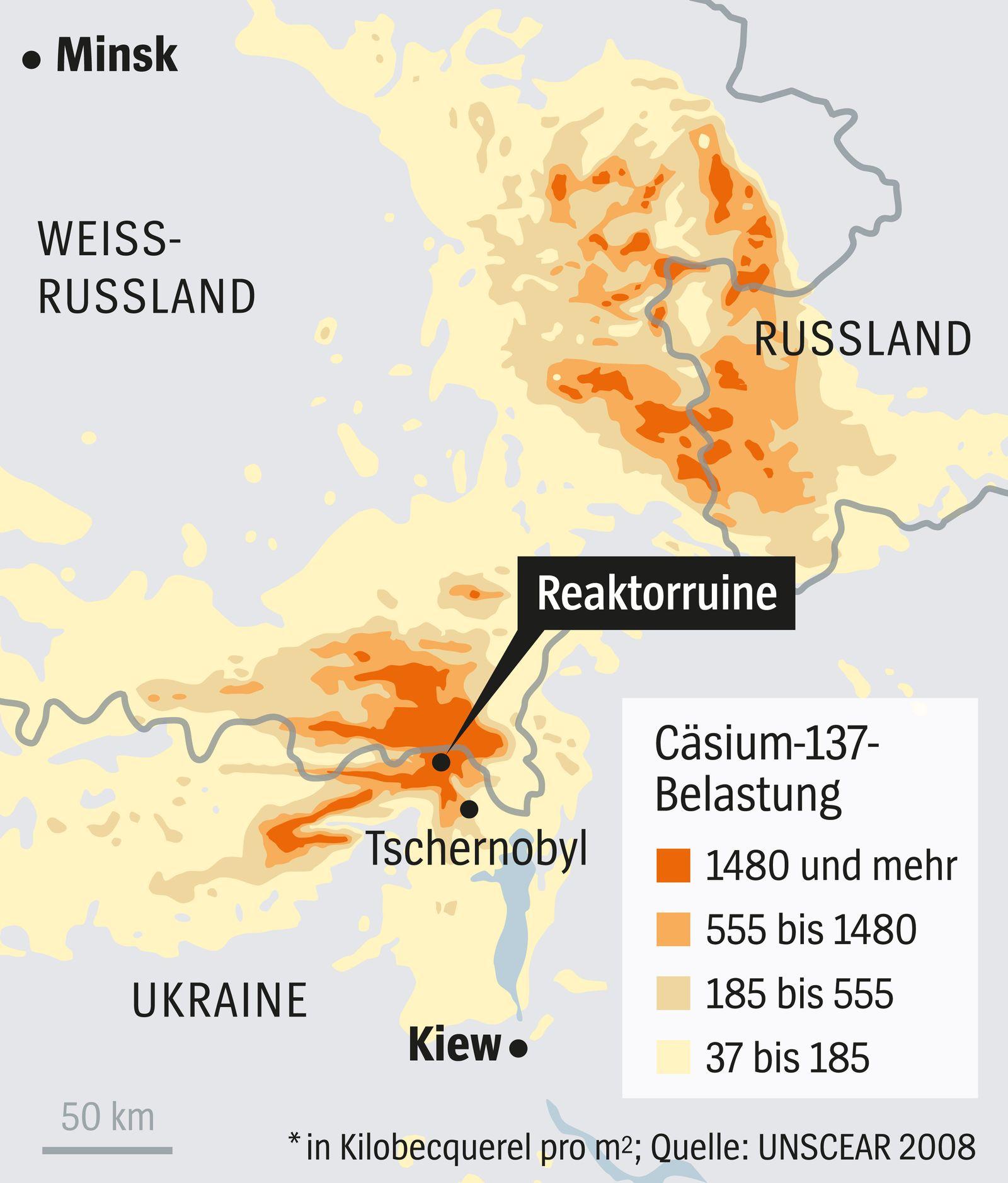 DER SPIEGEL 17/2016 Grafik / Karte / Tschernobyl
