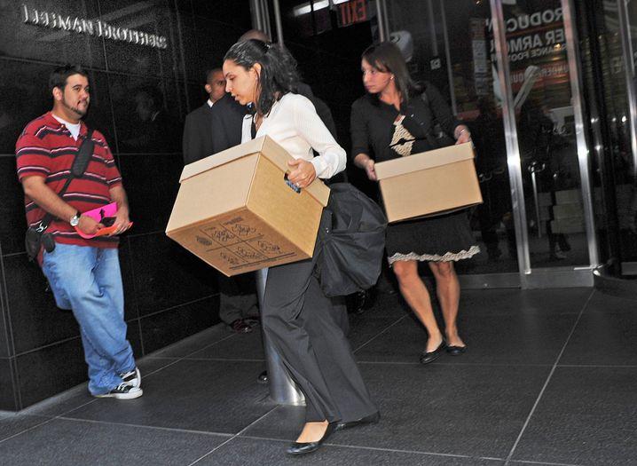 Aus und vorbei: New Yorker Lehman-Angestellte räumen ihre Arbeitsplätze