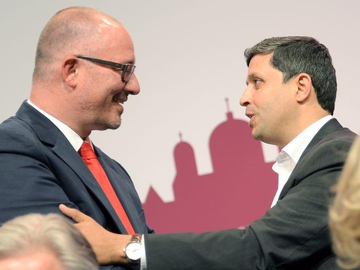 Die anderen Kandidaten: Fraktionsvorsitzender Saleh (r.), Landeschef Stöß