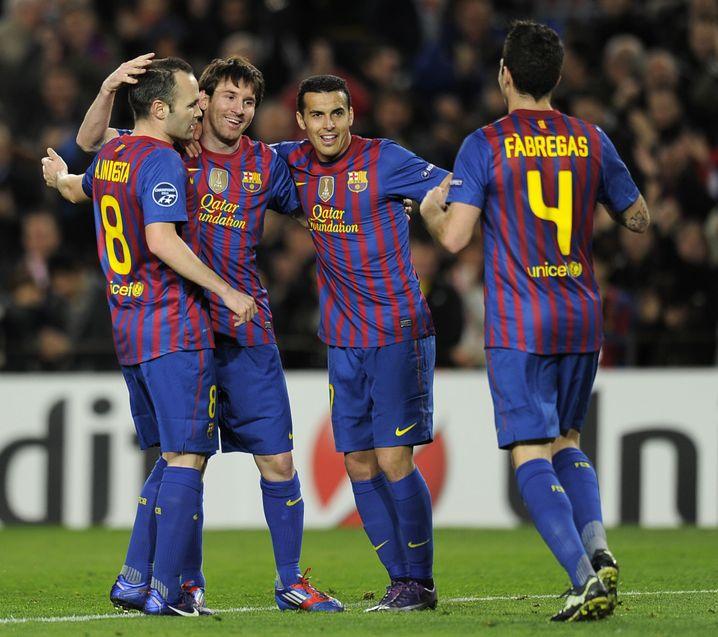 La-Masia-Absolventen Andrés Iniesta, Lionel Messi, Pedro (v.l.n.r.)