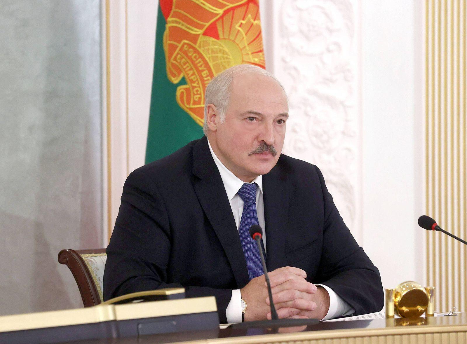 MINSK, BELARUS - JULY 1, 2021: Belarus President Alexander Lukashenko takes part in a plenary session of the 8th Forum