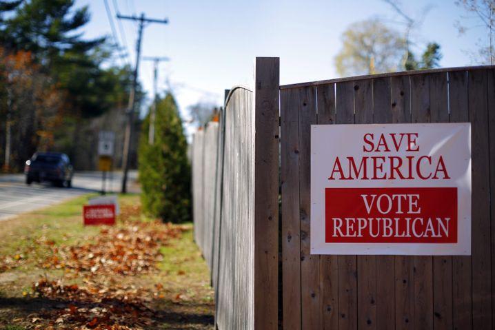 Mal rechts, mal links: Republikaner-Wahlplakat in Maine