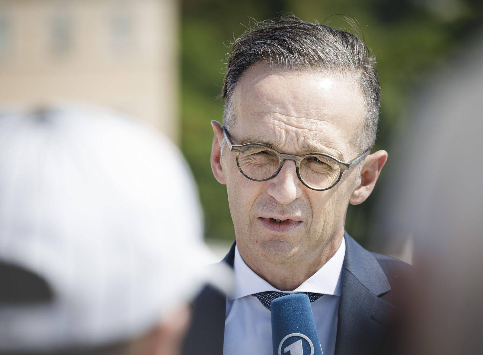 Bundesaussenminister Heiko Maas, SPD, gibt Journalisten ein Pressestatement in Athen. 25.08.2020. Athen Grichenland ***