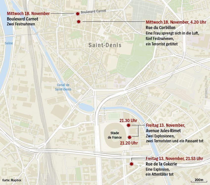 Grafik Karte Anschläge Paris Saint-Denis - Update 13.15 Uhr