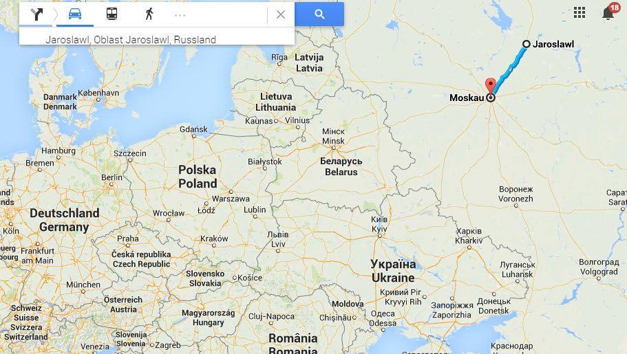 Abwegig: Moskau und Jaroslawl trennen nur 260 Kilometer, Daten liefen trotzdem über Frankfurt