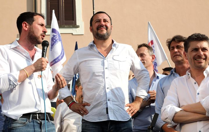 Italian Interior Minister Matteo Salvini at a local election rally in Cinisello Balsamo, near Milan. Salvini has become one of the most high-profile anti-migrant hardliners