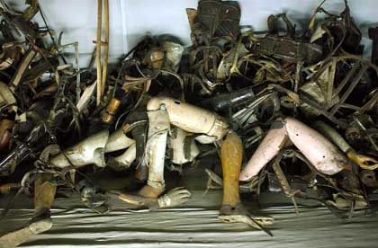 Mountains of prisoner belongings are still on display at the museum in Auschwitz.