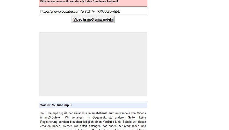 Webseite YouTube-MP3 (Screenshot)