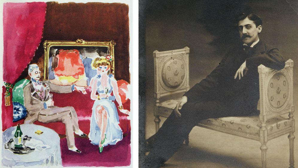 Buchillustration »Charles Swann Meeting Madame Cottard« von Kees van Dongen, 1947: Blick in das eigene Innere