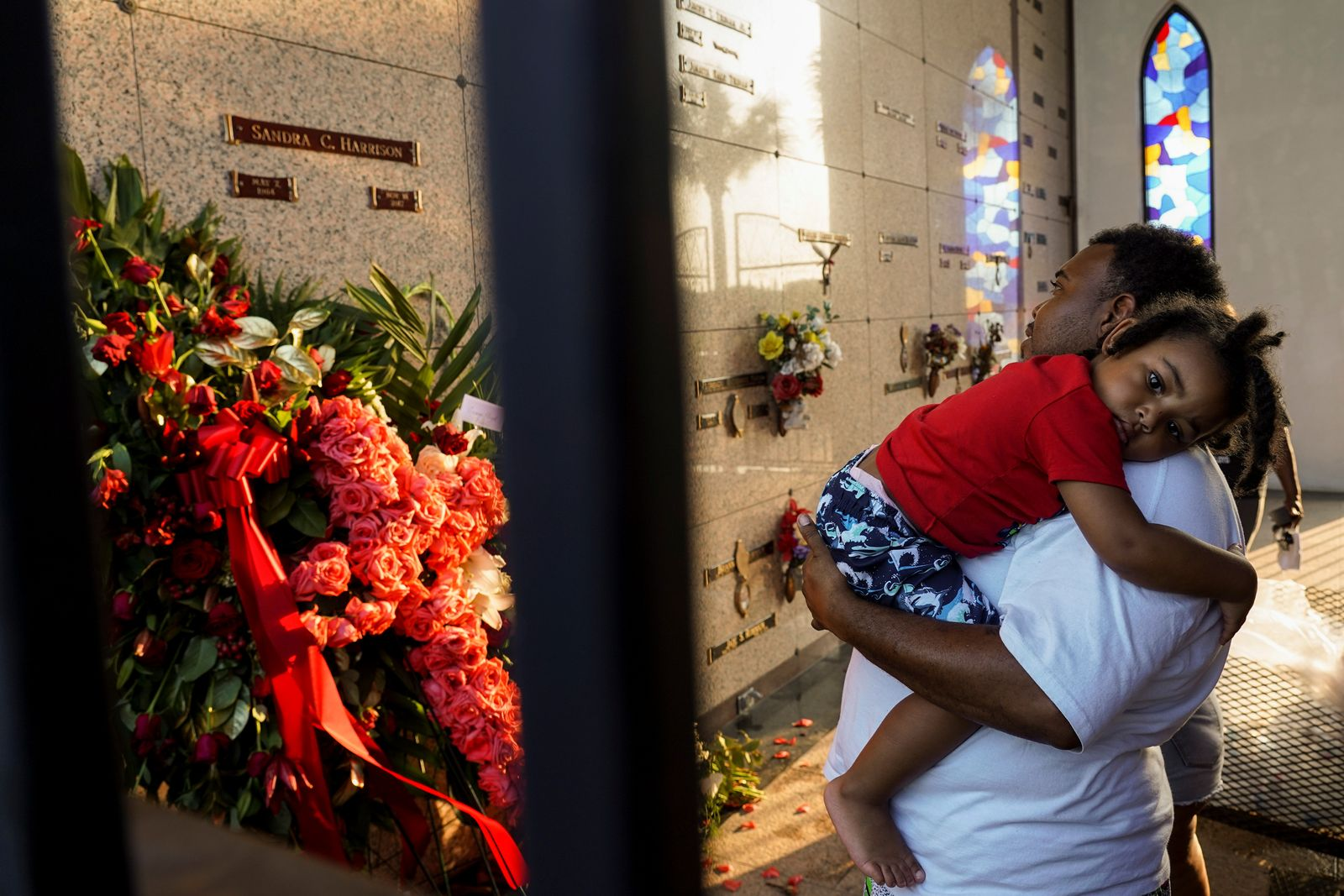 Mourners attend the funeral for George Floyd in Pearland