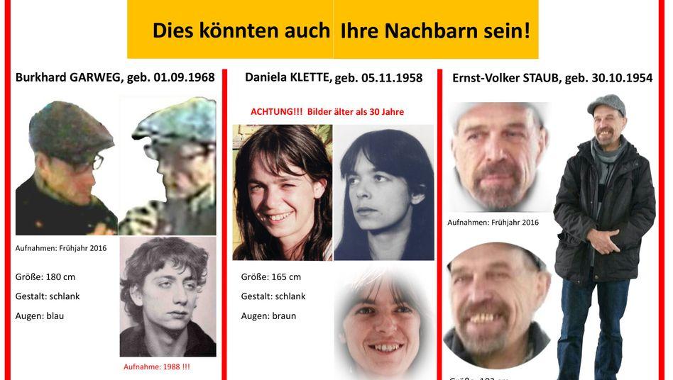 Burkhard Garweg, Daniela Klette, Ernst-Volker Staub (Fahndungsplakat): Wie eine Schweigemauer