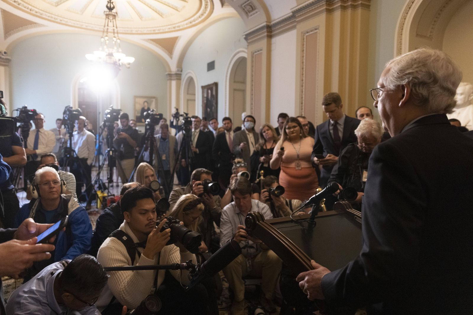 Senate Minority Leader Mitch McConnell of Ky., speaks at a press a conference by Republican leadership at the U.S. Capit