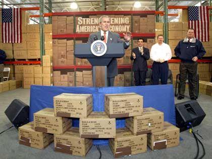 In der Mitte des Geschehens: Bush mit 2-D-Kisten (hinten) und 3-D-Kisten (vorne, überklebt)