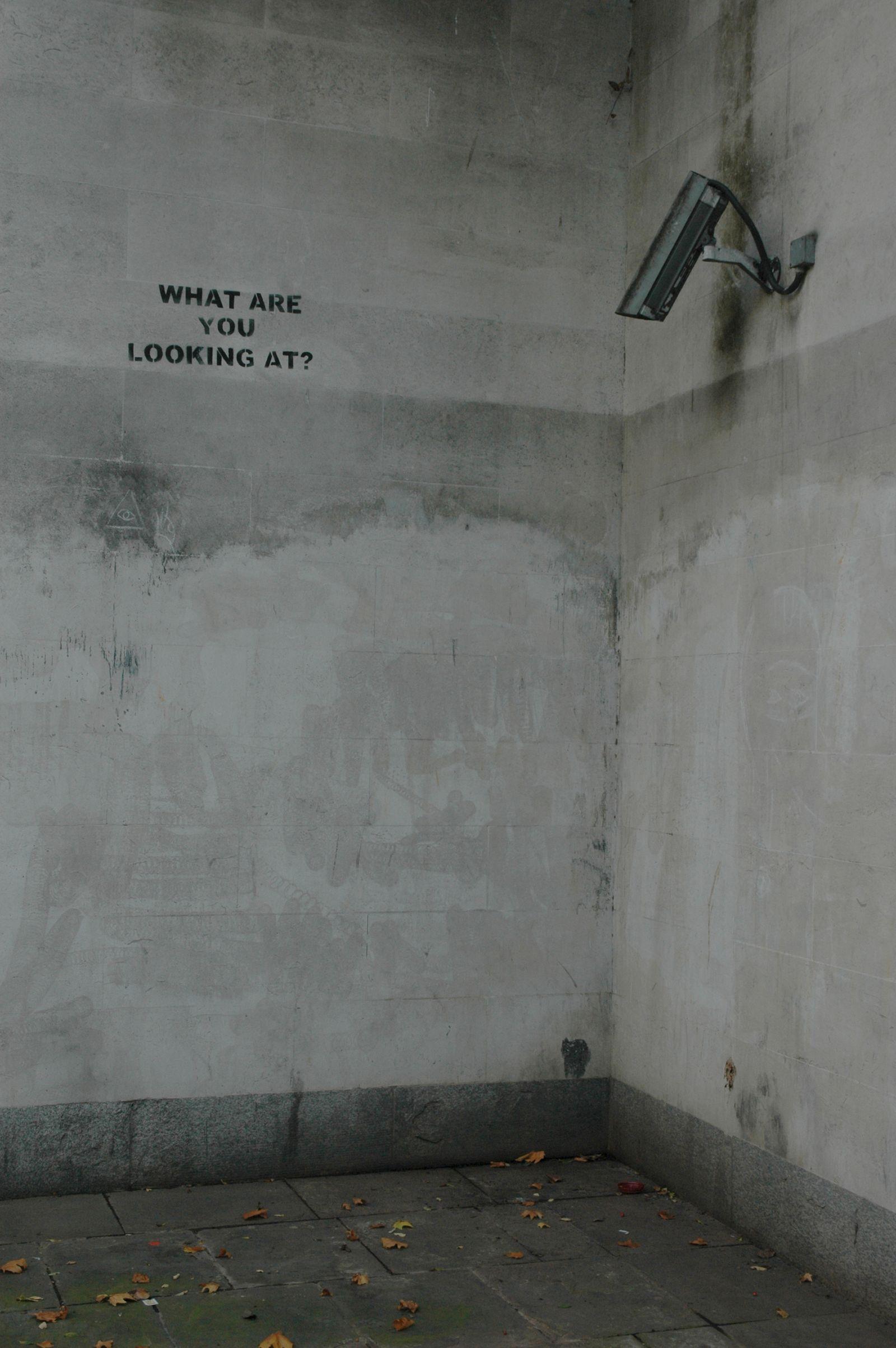 Banksy graffiti & CCTV camera, Marble Arch, London UK