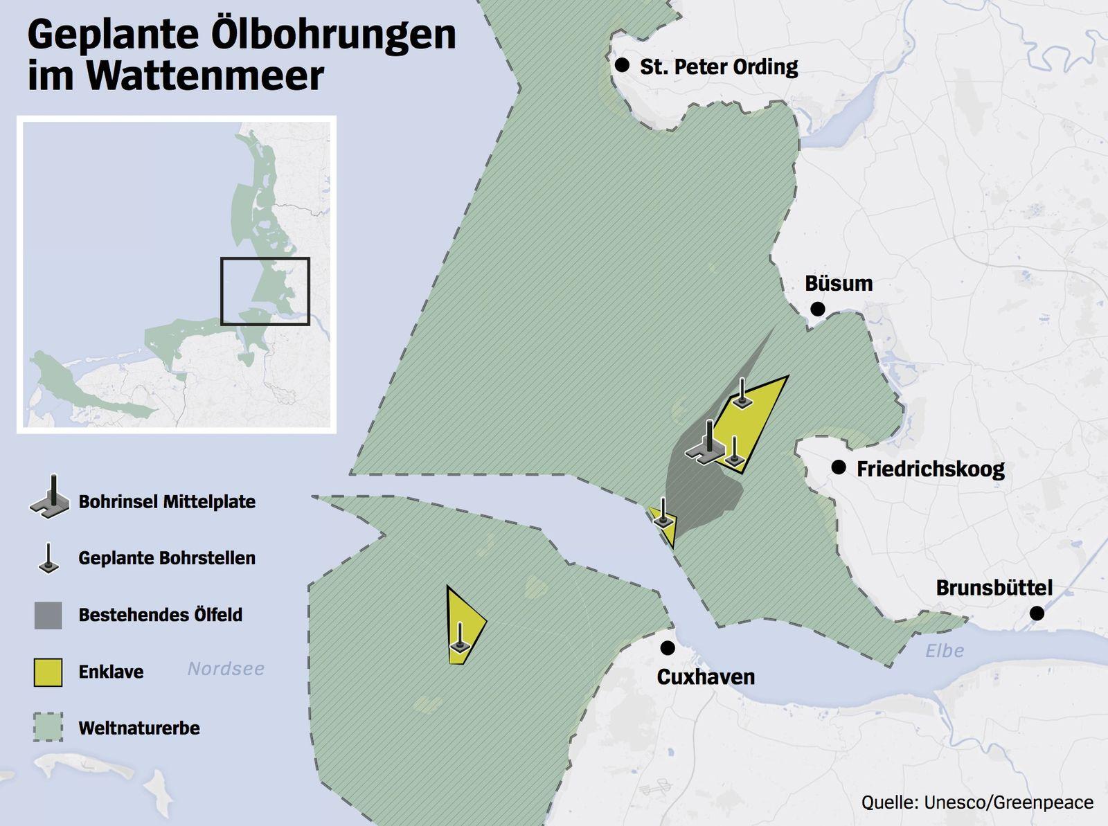 Karte geplante Ölbohrungen im Wattenmeer V2