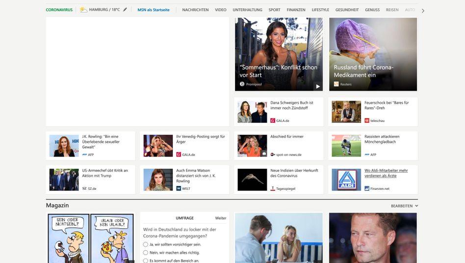 """""""MSN""""-Startseite: Noch entscheiden Menschen, was hier angezeigt wird"""