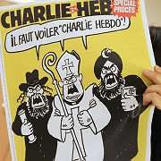 France's satirical weekly Charlie Hebdo was taken to court by Islamic groups in France for reprinting the controversial cartoons of the Prophet Muhammad. Sales shot from 60,000 to 400,000.