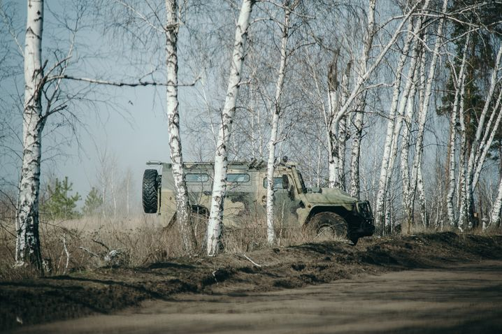 A military vehicle at the camp near Voronezh