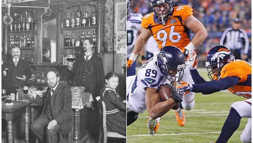 Links: Szene aufgenommen um 1910 in einer Berliner Destillerie Rechts: Doug Baldwin (89) von den Seattle Seahawks passiert beim Super Bowl XLVIII Mike Adamas von den Denver Broncos und punktet mit einem Touchdown