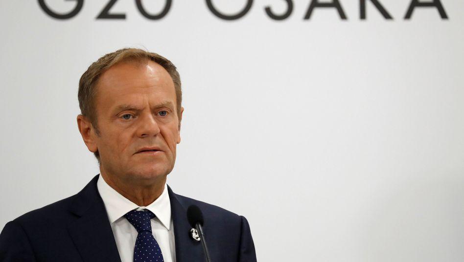 "Donald Tusk (Juni 2019): ""dummes Schwarzer-Peter-Spiel"""