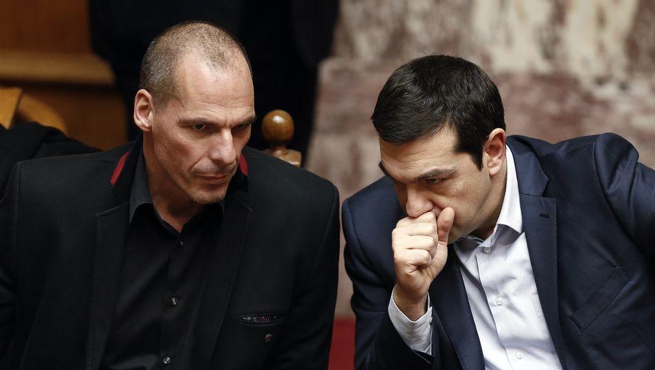 Griechenlands Finanzminister Varoufakis, Premier Tsipras: