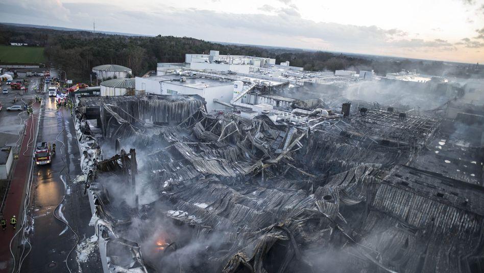Brandruine des Wiesenhof-Betriebs in Lohne