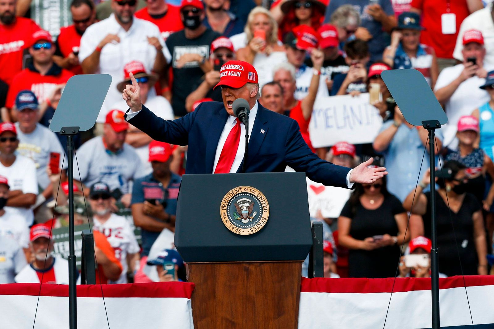 October 29, 2020, Tampa, Florida, USA: President Donald Trump speaks to a crowd at a re-election rally outside Raymond